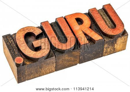 dot guru top level internet domain, isolated text in grunge letterpress wood type