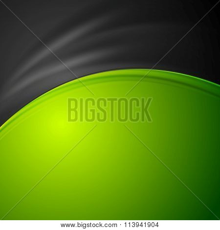 Contrast green and black abstract wavy background. Vector smooth curves graphic design illustration