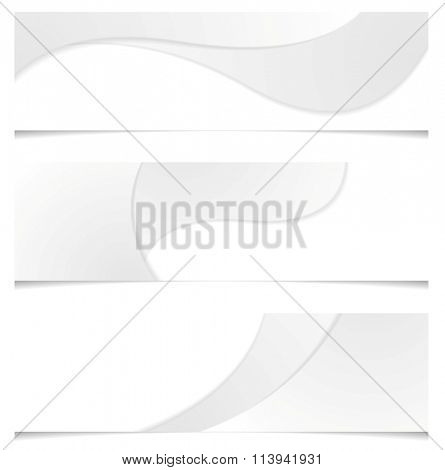 Abstract grey corporate banners with smooth waves. Vector elegant curves for graphic design