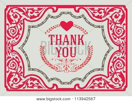 Thank You Vintage Greeting Card design template. Thank You Card, Love Heart, Thank You Background, Thank You Label, Ornament