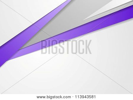 Tech brochure design with purple color stripes. Vector corporate style abstract grey background