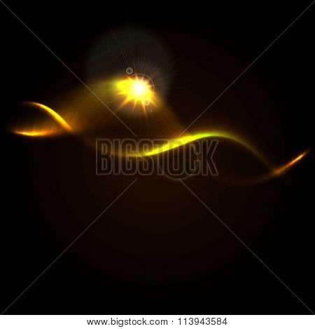 Gold color glow waves abstract background with lens flare vector design