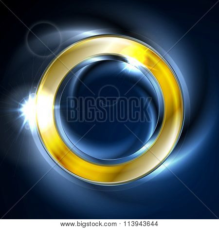 Blue and golden iridescent round logo vector design. Glowing effect and lens flare sparks on neon ring