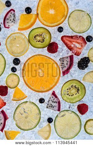 Close up of fruit mix on ice drift