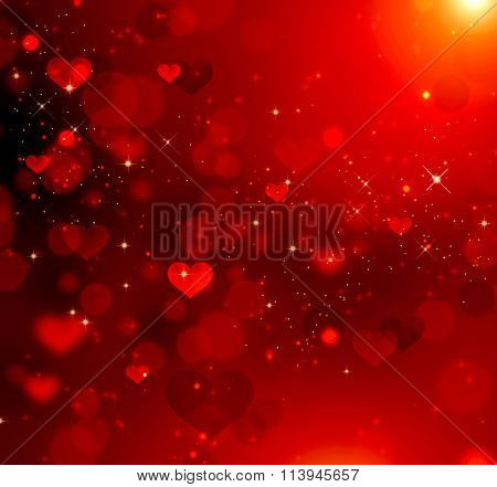 Valentine Hearts Abstract Red Background. St.Valentine's Day Wallpaper. Hearts on red background