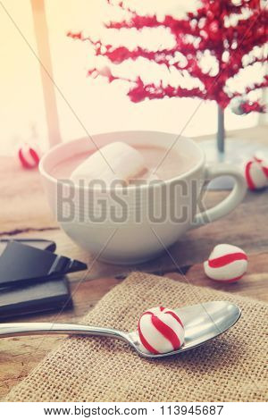 Cup of cocoa and peppermint candies