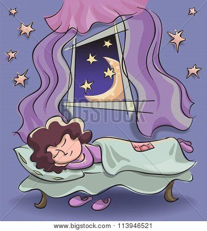 Sleeping Woman Near An Open Window
