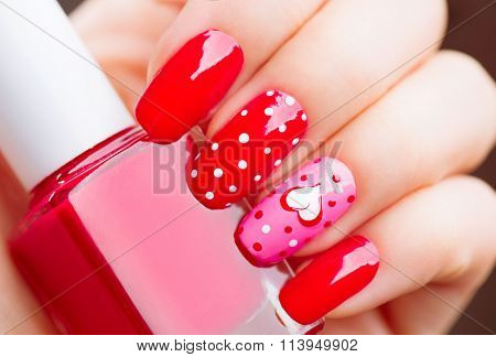 poster of Valentine Nail art manicure. Valentines Day Holiday style bright Manicure with painted hearts and po