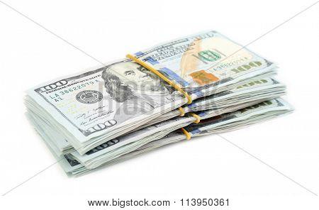 Hundred dollar bills, isolated on white