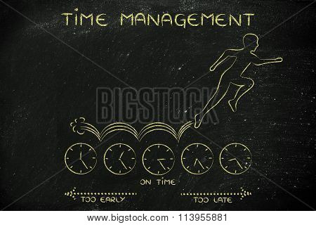 Person Running On Clocks, With Text Time Management