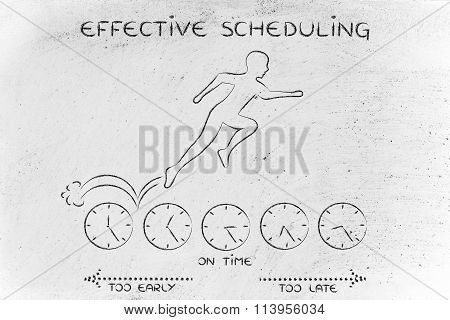 Person Running On Clocks & Being On Time, With Text Effective Scheduling