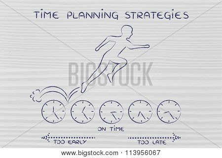 Person Running On Clocks & Being On Time, With Text Time Planning