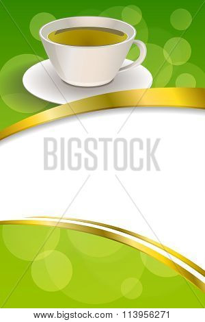 Background abstract drink green tea cup gold frame ribbon vertical illustration vector