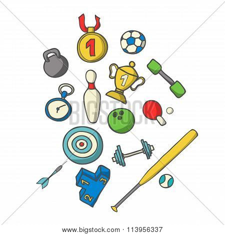 Vector illustration of sports set. Hand-drown objects sketch. Sp