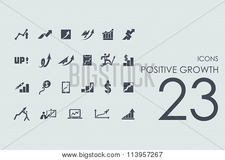 Set of positive growth icons