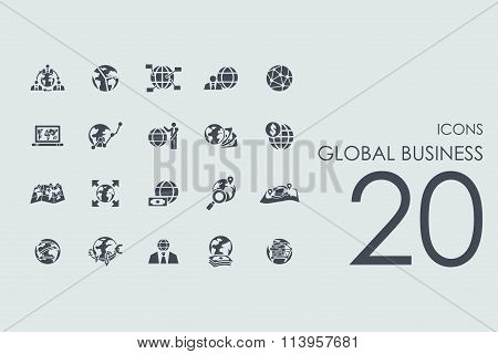 Set of global business icons