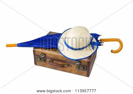 Suitcase, Umbrella And Hat Isolated On White Background
