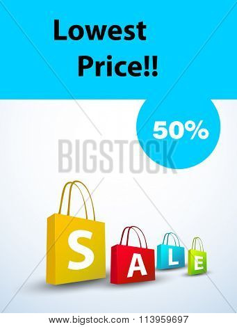Sale sign with sale tag