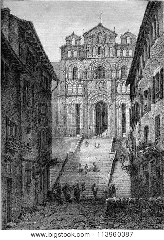 Le Puy Cathedral, Haute-Loire, vintage engraved illustration. Magasin Pittoresque 1870.