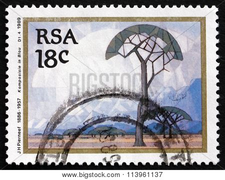 Postage Stamp South Africa 1989 Composition In Blue, By Pierneef
