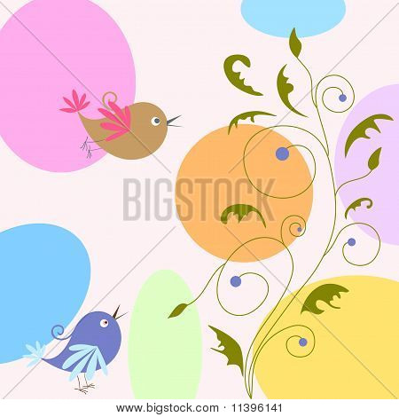 cartoon greeting card with birds and flowers