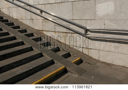 Old Stairway With Handrail.