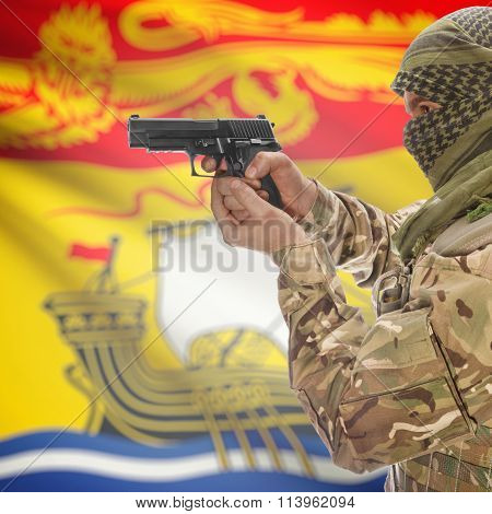 Male In With Gun In Hand And Canadian Province Flag On Background - New Brunswick