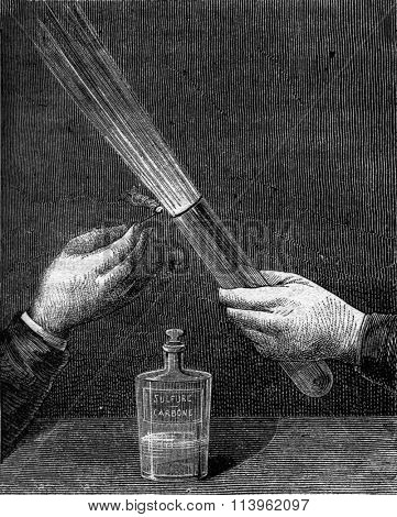 Flame produced by the mixture of nitrogen dioxide and carbon disulfide, vintage engraved illustration. Magasin Pittoresque 1870.