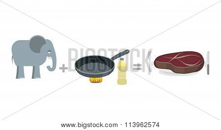 Cooking Instruction Elephant. Big Elephant And Pan, As Well Large Steak. Manual Cooking Elephant. Hu