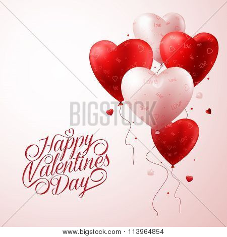 Red Heart Balloons Flying with Love Pattern and Happy Valentines Day