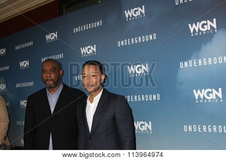 LOS ANGELES - JAN 8:  Mike Jackson, John Legend at the Underground WGN Winter 2016 TCA Photo Call at the The Langham Huntington Hotel on January 8, 2016 in Pasadena, CA