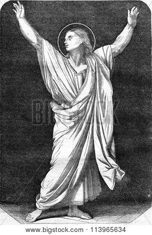 Saint Symphorien, figure of the Martyrdom of Saint Symphorien of Ingres, vintage engraved illustration. Magasin Pittoresque 1869.