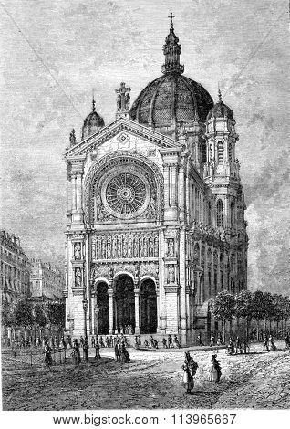 The church Saint-Augustin in Paris, vintage engraved illustration. Magasin Pittoresque 1869.