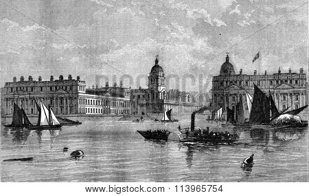 Greenwich Hospital, View from the Thames, vintage engraved illustration. Magasin Pittoresque 1869.