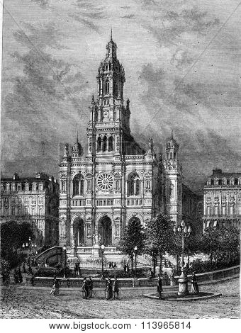 Trinity Church in Paris, vintage engraved illustration. Magasin Pittoresque 1869.