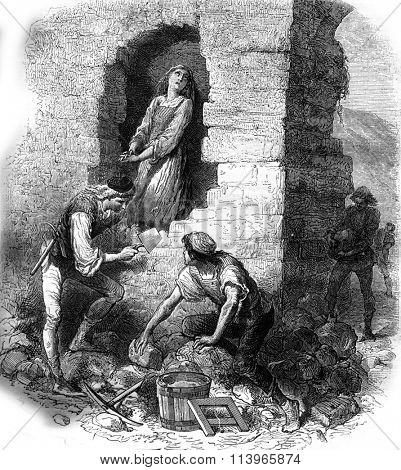Manoh, Manol, o master Manol enough that game, vintage engraved illustration. Magasin Pittoresque 1869.