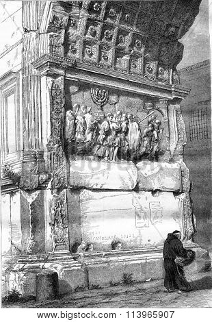 Part of the Arch of Titus in Rome, vintage engraved illustration. Magasin Pittoresque 1869.