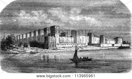 Fortress Semendria, on the Danube, vintage engraved illustration. Magasin Pittoresque 1869.
