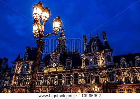 Paris City Hall Illuminated At Night 2
