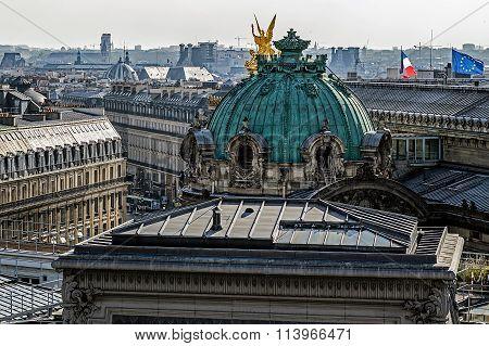 Panorama Of Paris With Opera Garnier Cupola