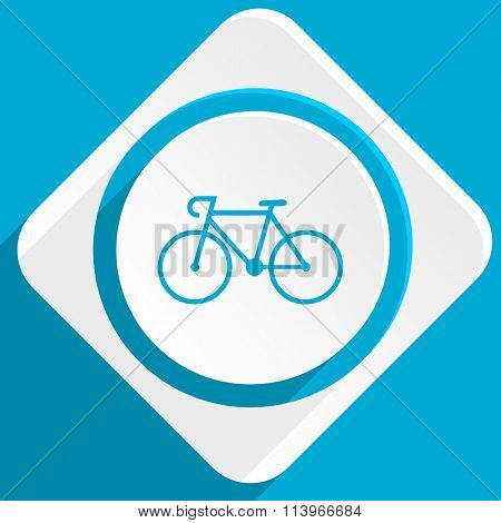 bicycle blue flat design modern icon for web and mobile app