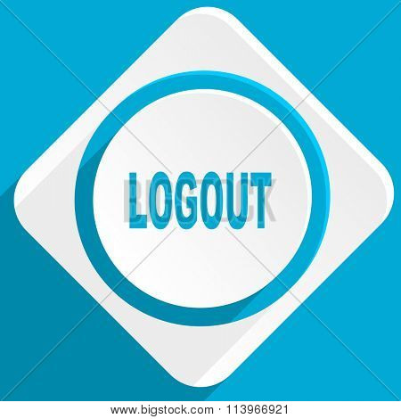 logout blue flat design modern icon for web and mobile app