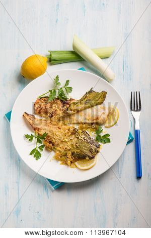 oven fish fillet with leek and lemon grated peel