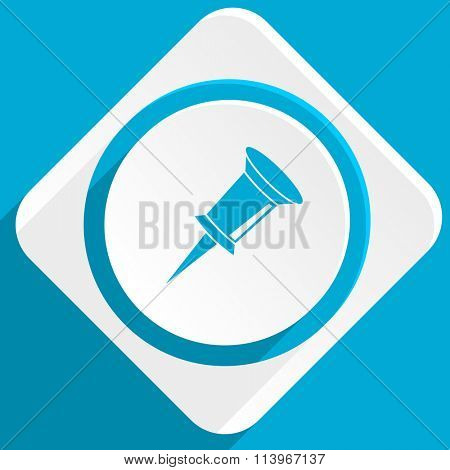 pin blue flat design modern icon for web and mobile app
