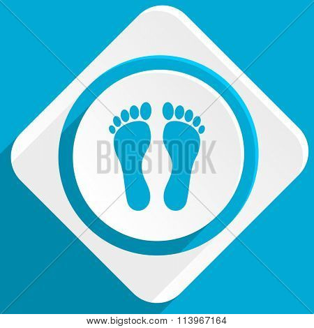 foot blue flat design modern icon for web and mobile app