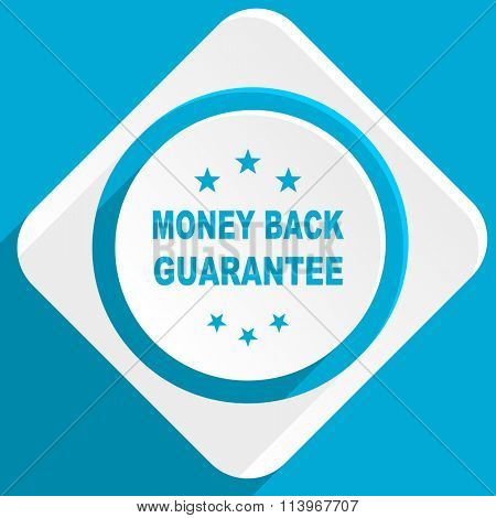 money back guarantee blue flat design modern icon for web and mobile app