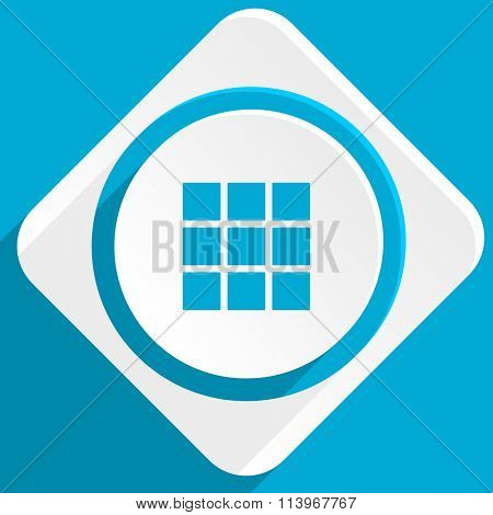 thumbnails grid blue flat design modern icon for web and mobile app