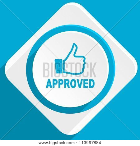 approved blue flat design modern icon for web and mobile app
