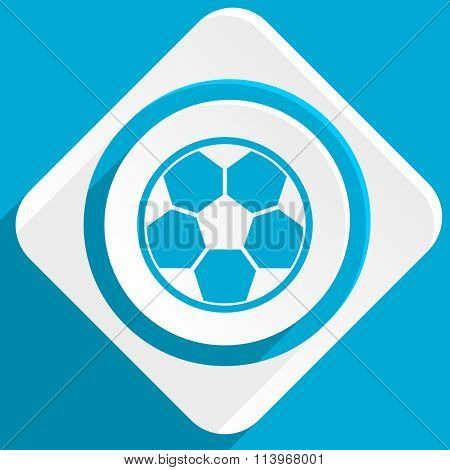 soccer blue flat design modern icon for web and mobile app