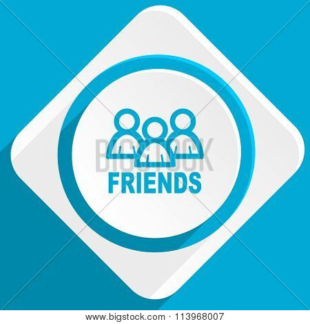 friends blue flat design modern icon for web and mobile app